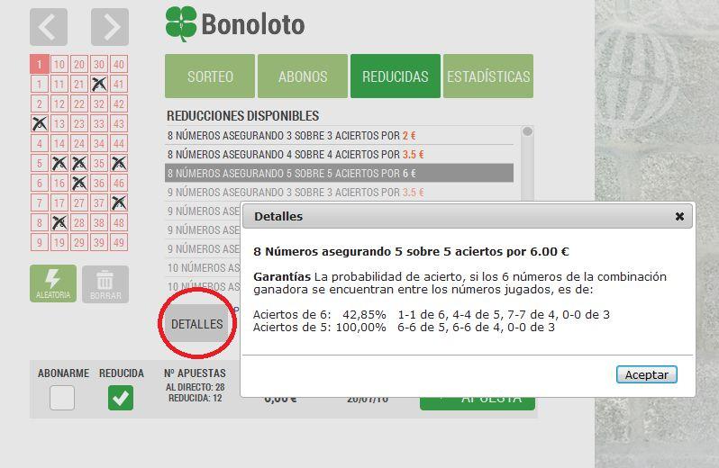 Jugada reducida a La Bonoloto: Loteriacano.com