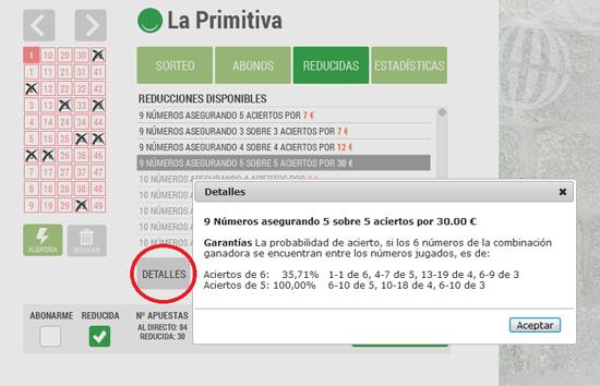 Jugada reducida a La Primitiva: Loteriacano.com