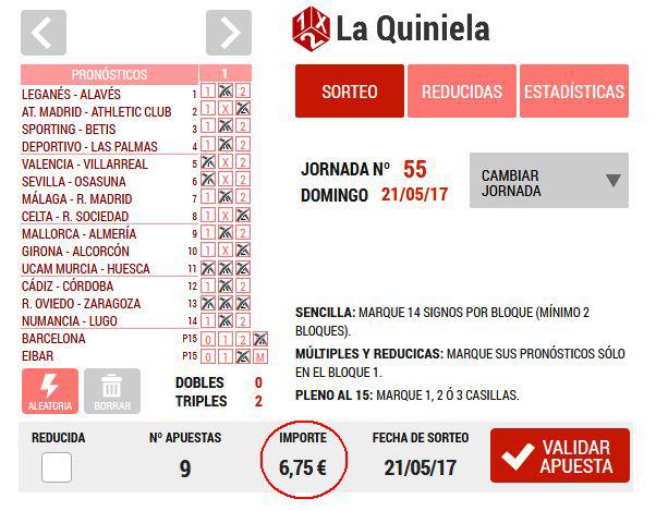 Precio de La Quiniela múltiple: Loteriacano.com
