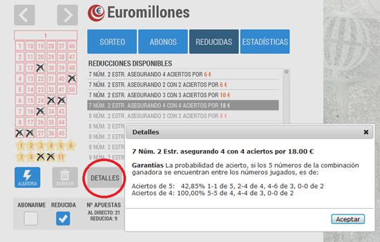 Jugada reducida a Euromillones: Loteriacano.com
