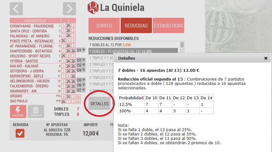 Jugada reducida a La Quiniela: Loteriacano.com