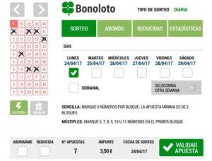 Jugar a la Bonoloto: Loteriacano.com