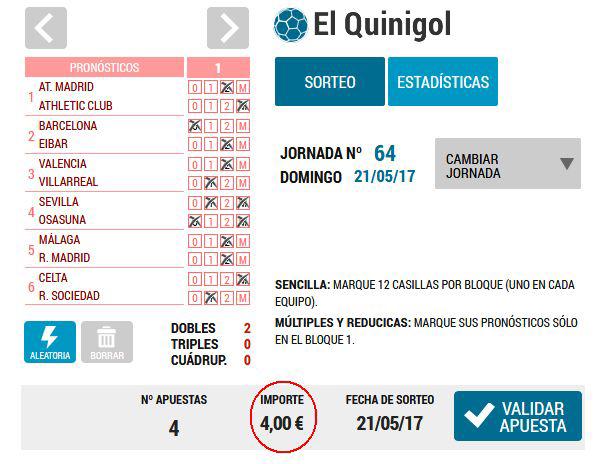 Precio del Quinigol múltiple: Loteriacano.com